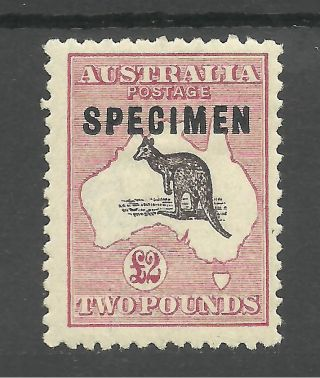 Australia Sg45b 1924 £2 Purple - Bl& Pale Rose O/printed Spec.  C.  £3750 As Normal photo