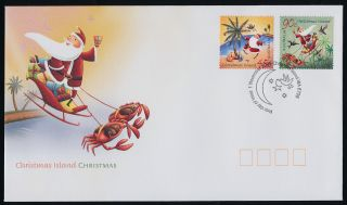 Christmas Island 452 - 3 Fdc Christmas,  Santa,  Crab photo