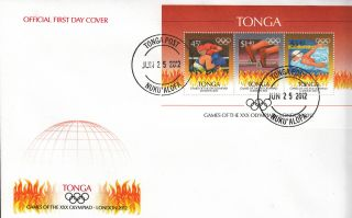 Tonga 2012 Fdc London Olympics 3v Sheet Cover Games Xxx Olympiad Boxing Swimming photo