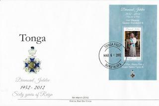 Tonga 2012 Fdc Diamond Jubilee Queen Elizabeth Ii 1v S/s Cover Salote Tupou Iii photo