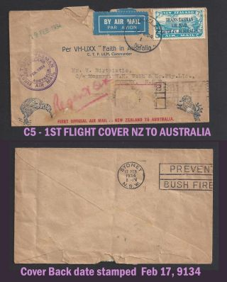 Zealand C5 Cover 1st Official Air Mail Zealand To Australia 2/1934 Stamp photo