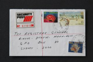 1988 Nsw Forster Security Post Commercial Cover $5 Painting Fish Marine Life photo