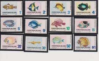 Christmas Island Fish Issue Of 1968 - 70 Scott 22 - 33 All Nh Except 29 Has Lh photo
