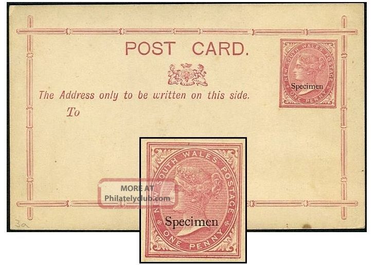 South Wales 1d Psc Specimen Not In Hull States & Territories photo