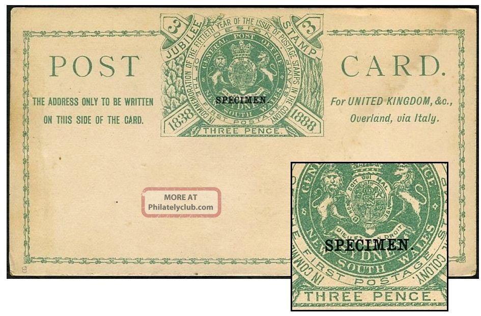 South Wales 3d (via Italy) Psc Specimen Not In Hull States & Territories photo