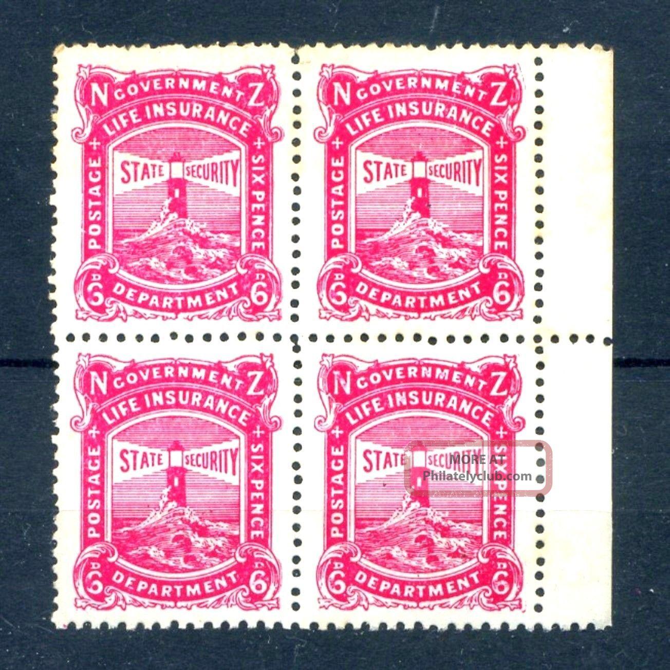 Zealand 1913 6d Carmine - Pink Life Insurance Sg L31 Blk 4 Cv£152++ Australia & Oceania photo