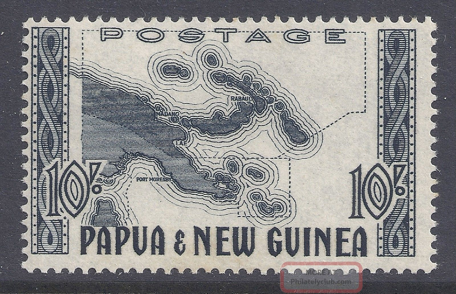 1952 Papua Guinea 10/ - Map Fine Mlh Sg14 Our Ref Nv1 Australia & Oceania photo