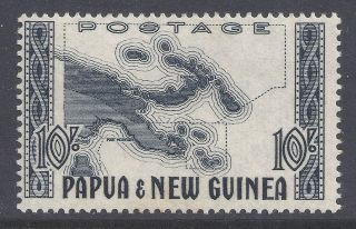 1952 Papua Guinea 10/ - Map Fine Mlh Sg14 Our Ref Nv1 photo