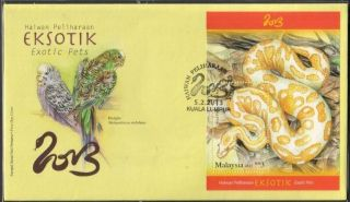 Malaysia 2013 Exotic Pets Phyton Budgies S/s Fdc Cover photo