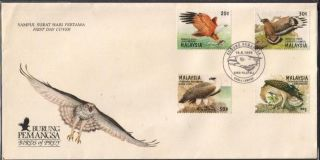 Malaysia 1996 Birds Of Prey Red Cob Crest Hawk Eagle Crested Serpent Eagle Fdc photo