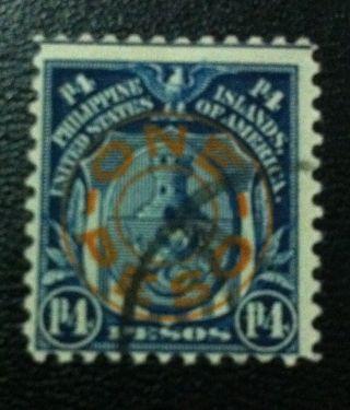 Philippines 1932 Sc 368a Us Possession 1 Peso Overprint Dark Blue photo