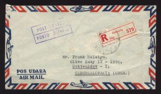 Airmail Port Payee Registered Cover To Czechoslovakia photo