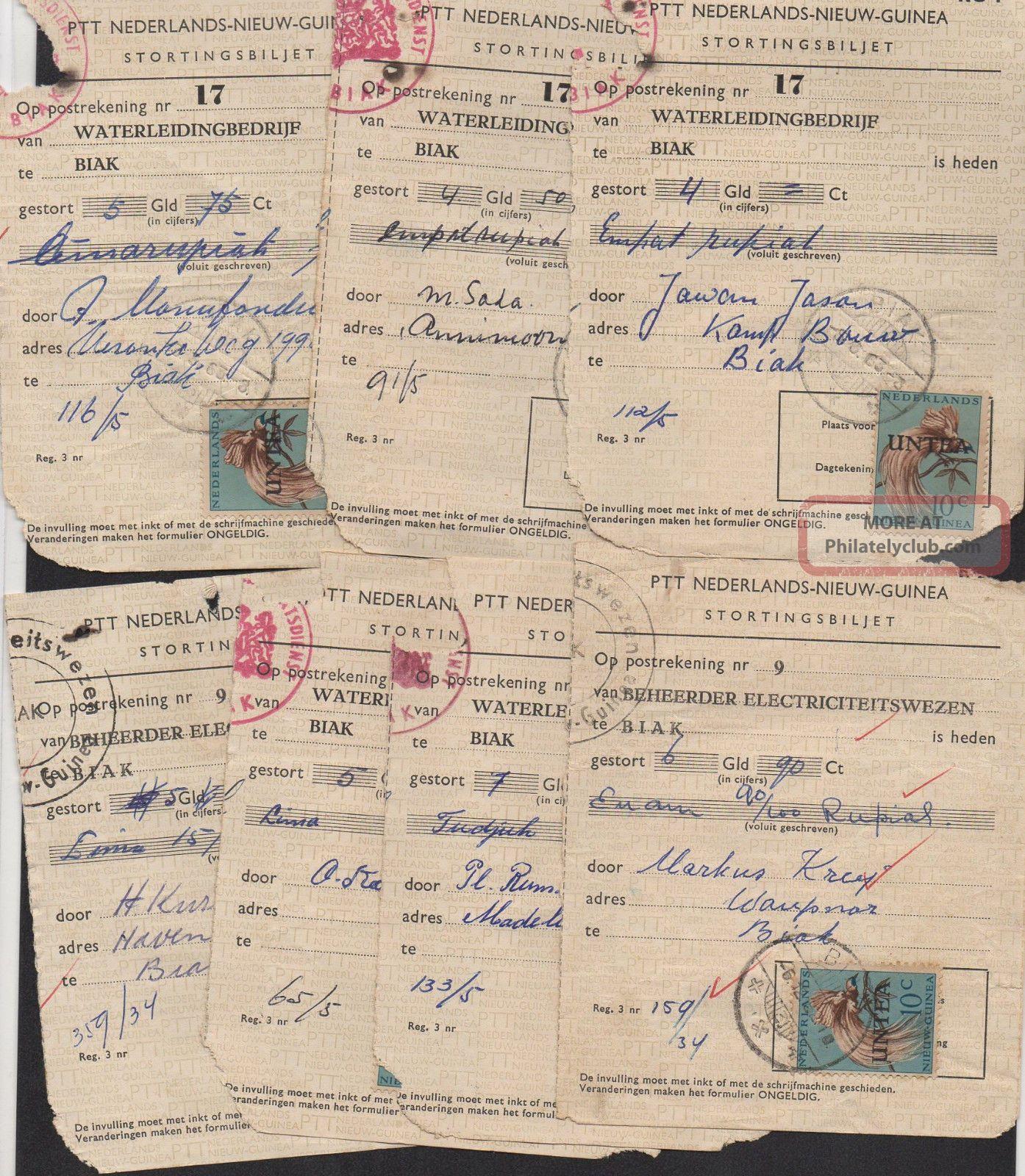 Nederlands Nieuw Guinea West Irian Indonesia Untea Stortingsbiljet 1963 & 1966 Europe photo