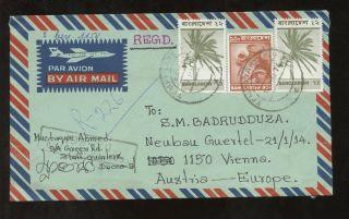 Bangladesh Registered 1976 To Austria Airmail. . .  Temporary Po Postmark photo