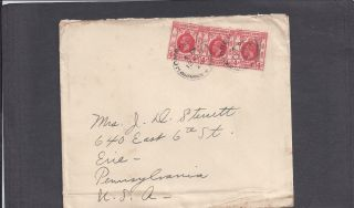 1928 Hong Kong To Erie,  Pa Cover - Canadian Pacific Cruises - Multi Franked photo