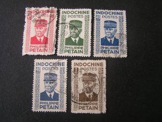 Indo - China,  Scott 217+219 - 222 (4),  1942 - 44 Marshall Petain Issue photo