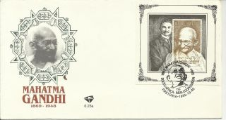 Stamp 1995 South Africa Mahatama Gandhi Fdc With Mini Sheet Cancelled photo