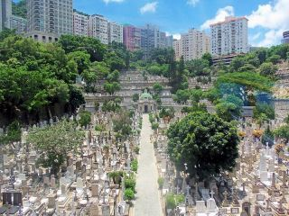 1906 Hong Kong Kevii Postcard Of St Michael ' S Catholic Cemetery To England photo