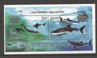 Stamp India 2009 India Philippines Issue Ganga River And Dolphin Mini Sheet photo