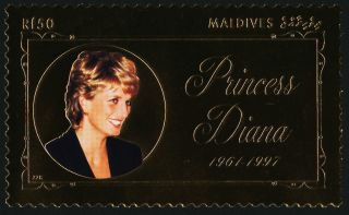 Maldives 2331 Gold Foil,  Princess Diana photo