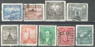 Philippines,  1931,  O6; 1947,  504 - 509; 1948,  527,  + Documentary Stamp, photo
