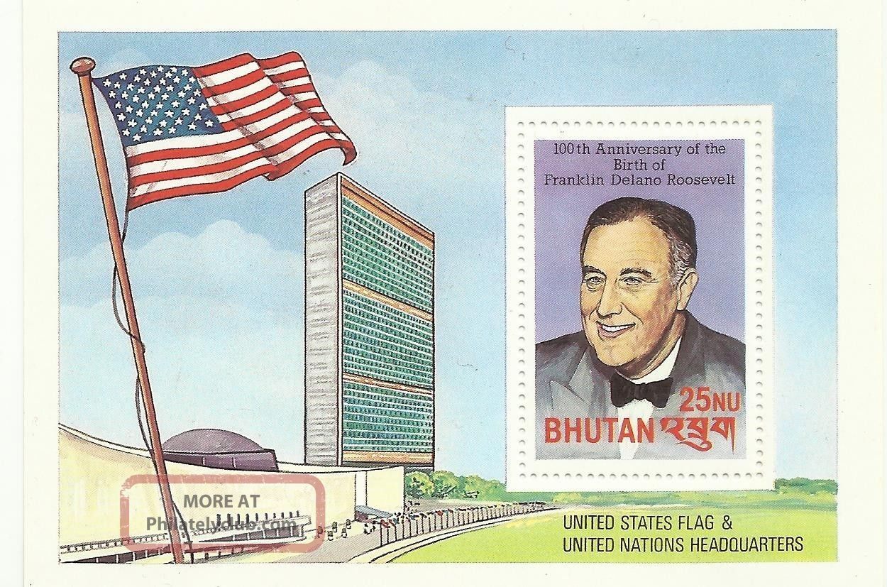 Stamp Bhutan Roosevelt 100th Anniversary United State Flag & Uno Headquarter Asia photo