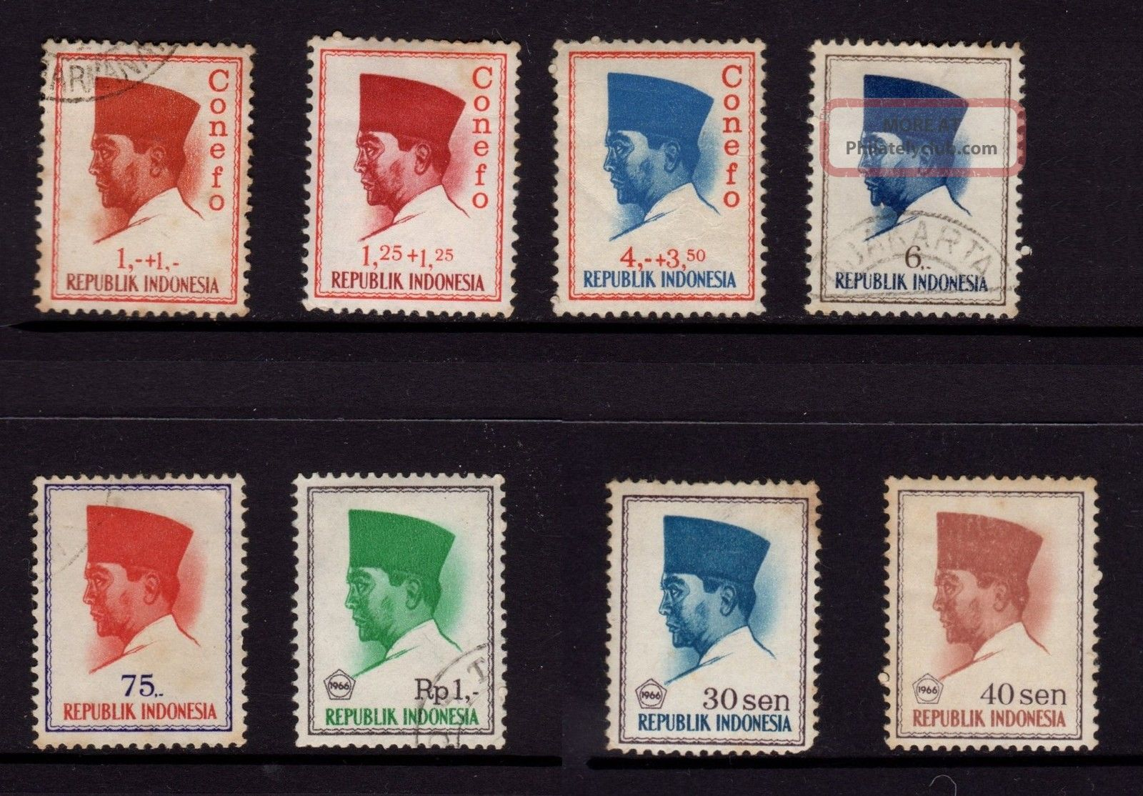 Indonesia,  Sc B165,  B166,  B170,  Conefo & Sc 616,  622,  680,  676,  677 Pres.  Sukarno, Asia photo