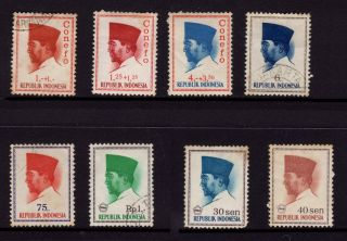 Indonesia,  Sc B165,  B166,  B170,  Conefo & Sc 616,  622,  680,  676,  677 Pres.  Sukarno, photo