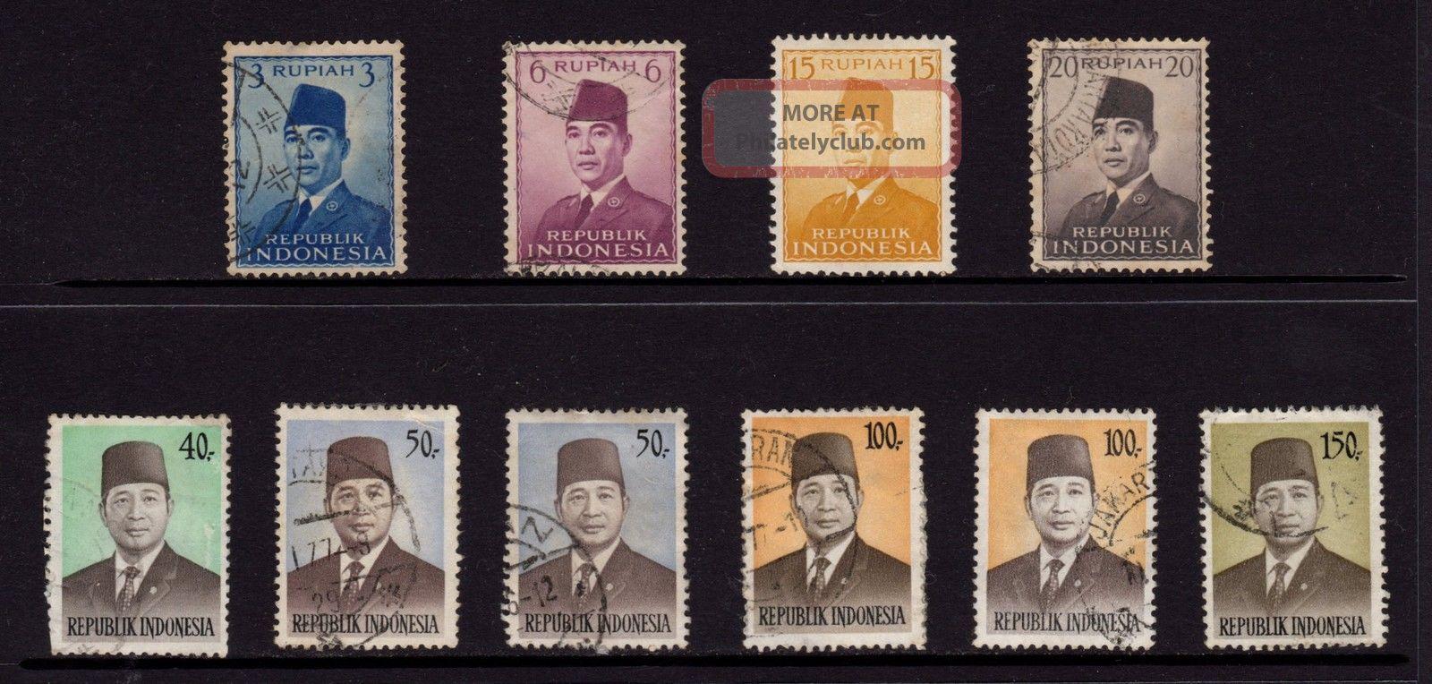 Indonesia,  Sc 392,  394,  396,  397,  901,  903,  912 & 913,  Pres.  Sukarno, Asia photo