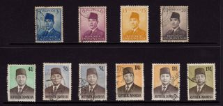 Indonesia,  Sc 392,  394,  396,  397,  901,  903,  912 & 913,  Pres.  Sukarno, photo