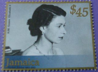H.  M.  Queen Elizabeth 11 In Evening Dress Jamaica Stamp photo