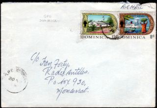 Dominica 1974 Qeii 8c & 12c On Surface Mail Cover To Montserrat photo