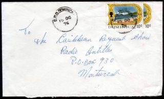 Dominica 1975 2x10c Portsmouth Harbour On Plain Cover To Montserrat photo