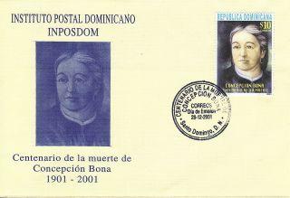 Dominican ConcepciÓn Bona Seamstress Of Flag Sc 1376 Fdc 2001 photo