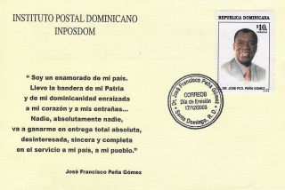 Dominican Dr.  JosÉ Fco.  PeÑa GÓmez Politician Sc 1397 Fdc 2003 photo