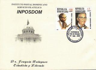 Dominican Pres.  Joaquin Balaguer Sc 1425 - 6 Fdc 2006 photo