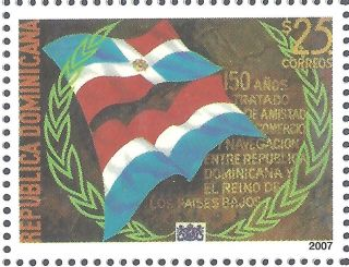 Dominican Treaty Of Friendship With The Netherlands 150th Anniv.  Sc1438 2000 photo