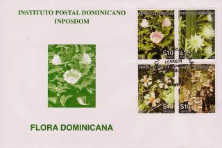 Dominican Flowers Block Of 4 Sc 1504 Fdc 2011 photo