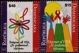 Dominican World Aids Day Sc 1491 - 1492 2010 photo
