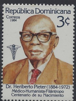 Dominican Dr Heriberto Pieter Physician,  First Negro Graduate Sc 900 1984 photo