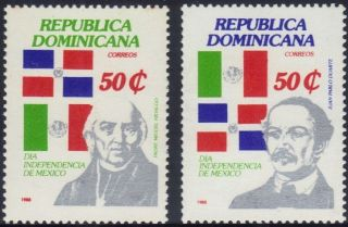 Dominican Independence Day Mexico Sc 1029 - 30 1988 photo