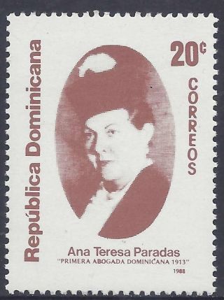 Dominican 1st Female Lawyer Ana Teresa Paradas Sc 1048 1988 photo