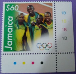 Jamaica Usain Bolt,  Powell,  Carter,  Frater Olympic Gold 4x100m Team photo