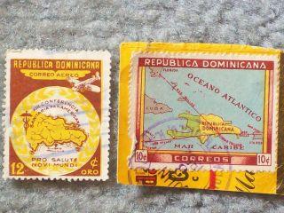 Stamp Dominican Republic 1946 – 1950 Air Mail Ap28 C62 10c Map Of Hispaniola photo
