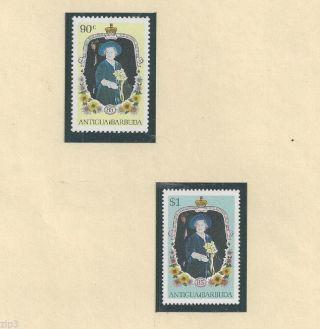 Antigua - Barbuda - 1985 - Queen Mother - 85th Birthday Sc 866a & 867a Og photo