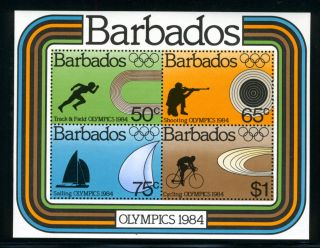 Barbados,  Scott 626a,  1984 Olympics,  Souvenir Sheet,  1984 photo