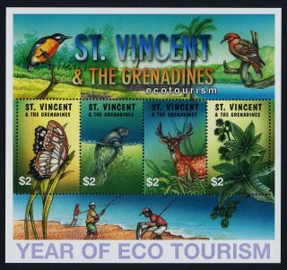 St Vincent 3036 Year Of Eco Tourism,  Butterfly,  Manatee,  Deer,  Birds photo