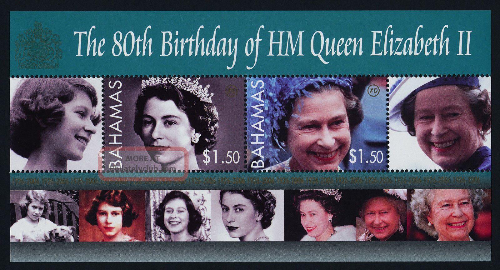 Bahamas 1171 - 5 Queen Elizabeth 80th Birthday Caribbean photo