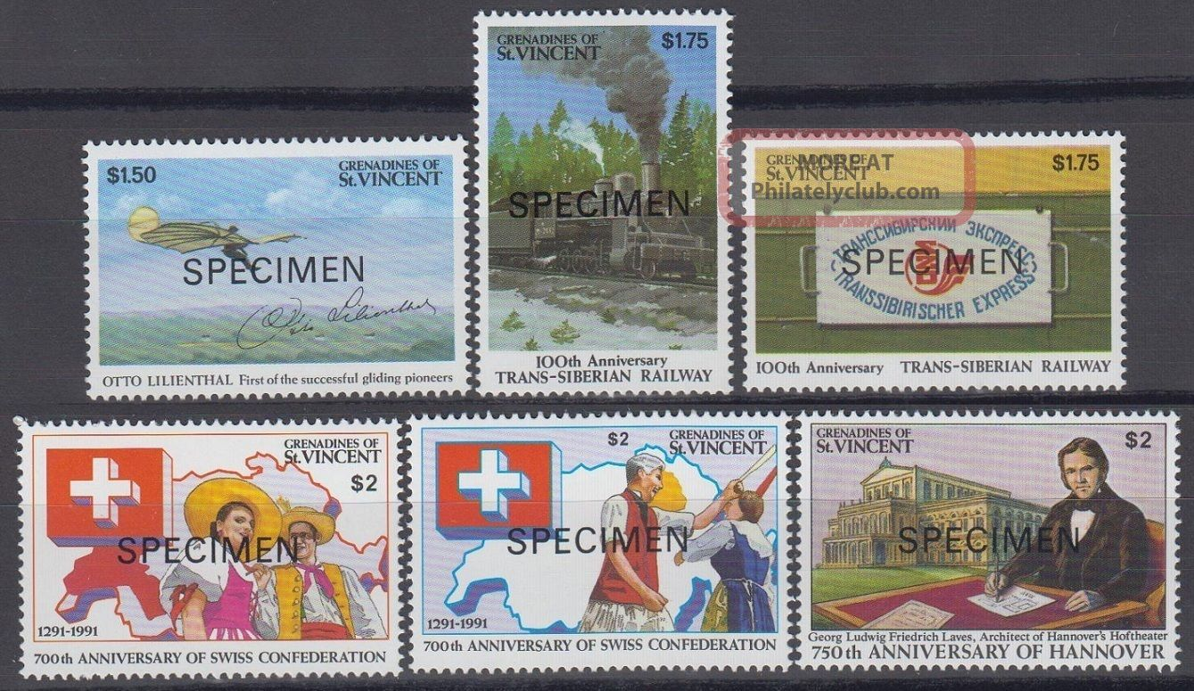 Specimen,  St.  Vincent Grenadines Sc809 - 14 Otto Lilienthal,  Trans - Siberian Railwa Caribbean photo
