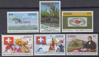 Specimen,  St.  Vincent Grenadines Sc809 - 14 Otto Lilienthal,  Trans - Siberian Railwa photo